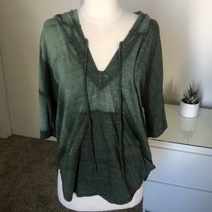 Nation LTD olive green hooded top w/ front pocket